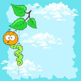 Cartoon caterpillar on leaves, cloudy sky. Postcard . Space for text Royalty Free Stock Photography