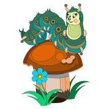 Cartoon caterpillar on a mushroom Royalty Free Stock Images