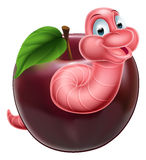 Cartoon Caterpillar Worm and Apple. An illustration of a happy cute cartoon pink caterpillar worm character coming out of an apple Stock Image