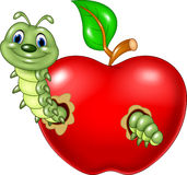 Cartoon caterpillars eat the red apple Royalty Free Stock Photo