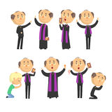 Cartoon catholic priest reading prayer, blessing parishioners, holding Cross, Bible and Gospel set of vector Stock Images