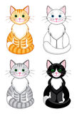 Cartoon cats. Set of four differently colored cartoon cats. Vector EPS8 Stock Photos