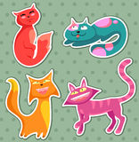 Cartoon cats. Collection of cartoon cats in different postures Stock Images
