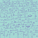 Cartoon cats. Cute cartoon smiling cats background Royalty Free Stock Images