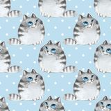 Cartoon cats, blue seamless pattern. Watercolor cartoon cats, blue seamless pattern Stock Photography