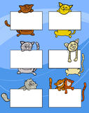 Cartoon cats with board or card set Royalty Free Stock Photography