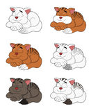 Cartoon cats collection vector illustration