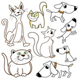 Cartoon cats and dogs stock illustration