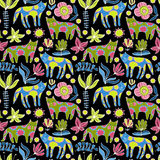 Cartoon cats and flowers. Colorful Seamless Pattern. Cartoon animals. Colorful Seamless Pattern Royalty Free Stock Images