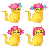 Cartoon cats hairstyles. Isolated vector illustration. Stock Image