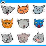 Cartoon cats and kittens heads collection. Cartoon Vector Illustration of Cute Cats and Kittens Heads Set Stock Photos