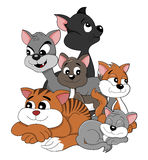 Cartoon cats and kittens Stock Photography