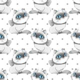 Cartoon cats, monochrome seamless pattern. Watercolor cartoon cats, seamless pattern Stock Photography