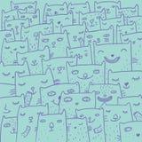 Cartoon cats pattern. Cartoon cats background in vector Royalty Free Stock Photos