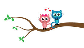Cartoon cats on the tree Royalty Free Stock Photo