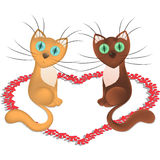 Cartoon cats which is in love and heart from trace of cat paw footprints, vector Royalty Free Stock Images
