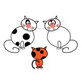 Cartoon cats on white background. Vector illustration Royalty Free Stock Photo