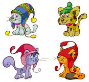 Cartoon cats with wooly hats Royalty Free Stock Photos