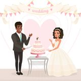Cartoon caucasian bride and afro-american groom cutting wedding cake. Happy day. Couple in love. Woman in lush dress Stock Images