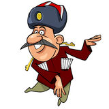 Cartoon Caucasian man with a mustache, dancing Stock Image