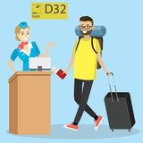 Cartoon caucasian passenger with suitcase and big backpack walki royalty free illustration