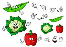 Cartoon cauliflower, pepper and pea pod vegetables Royalty Free Stock Photo