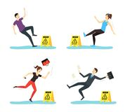Cartoon Caution Wet Floor with People Characters Set. Vector vector illustration
