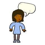 Cartoon cautious woman with speech bubble Stock Photos