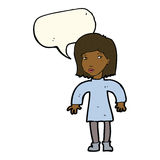 Cartoon cautious woman with speech bubble Royalty Free Stock Photography