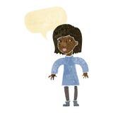 Cartoon cautious woman with speech bubble Stock Photo