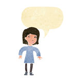 Cartoon cautious woman with speech bubble Stock Images