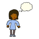 Cartoon cautious woman with thought bubble Royalty Free Stock Photos