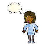 Cartoon cautious woman with thought bubble Stock Image