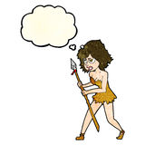 cartoon cave girl with thought bubble Royalty Free Stock Photo
