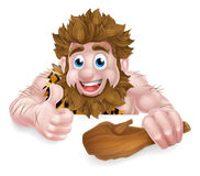 Cartoon Caveman Above Sign Royalty Free Stock Image