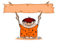 Cartoon caveman with blank banner Stock Photo