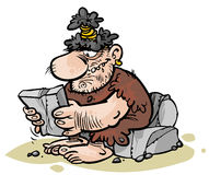 Cartoon Caveman. Character reading stone newspaper Royalty Free Stock Photo