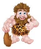 Cartoon Caveman. A cute cartoon caveman in an animal skin giving a thumbs up and holding a club Stock Photo