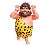 Cartoon caveman with  funny pose Royalty Free Stock Image