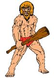 Cartoon caveman holding club Stock Photography