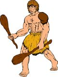 Cartoon caveman holding club Royalty Free Stock Photography