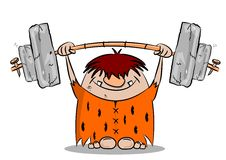 Cartoon caveman keeping fit Stock Photos