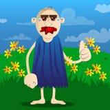 Caveman making thumbs up sign. royalty free illustration