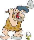 Cartoon caveman playing golf. Royalty Free Stock Photography