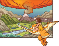 Cartoon caveman. Riding a pterodactyl towards a volcano. Vector clip art illustration with simple gradients. Background and caveman on separate layers Stock Image