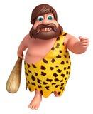 Cartoon caveman with running pose Stock Images