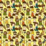 Cartoon Caveman seamless pattern Stock Photo