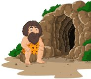 Cartoon caveman sitting with cave background. Illustration of Cartoon caveman sitting with cave background Royalty Free Stock Images