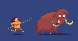 Cartoon Caveman with Spear hunting Mammoth. Vector Stock Image