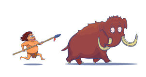 Cartoon Caveman with Spear hunting Mammoth. Vector Stock Images